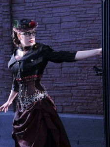 Gail Carriger in one her fabulous steampunk outfits (image courtesy of J. Daniel Sawyer)