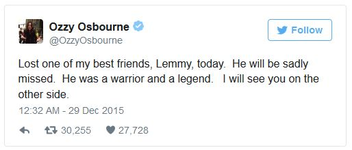 Ozzy Tweets his sympathies for the departed Lemmy.
