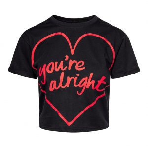 Black Crop Top With Heart and You're Alright Slogan