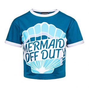 Baseball Tee Style Crop Top in Blue With Mermaid Off Duty Slogan and Blue Seashell