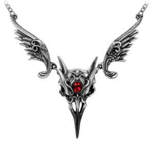 Alchemy Gothic Masque of the Black Rose Necklace (Red/Silver)