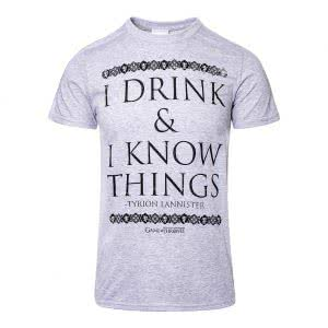 Game Of Thrones T Shirts: Game Of Thrones I Drink & I Know Things T Shirt (Grey)