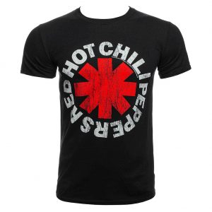 Official Red Hot Chili Peppers Distressed Asterisk Cheap Band T Shirt T Shirt (Black)