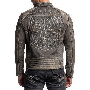 Affliction American Custom Iron Head Rider Leather Jacket