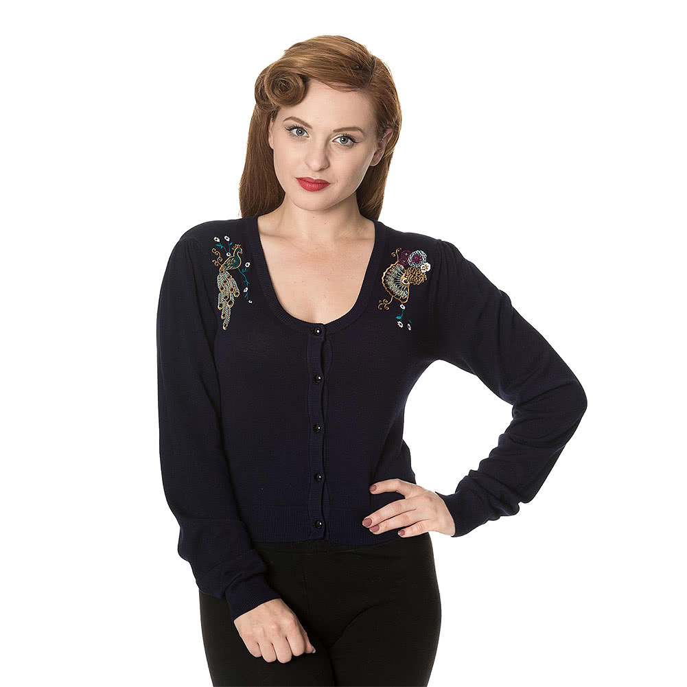 Banned Proud Peacock Cardigan. Embroidered Tops