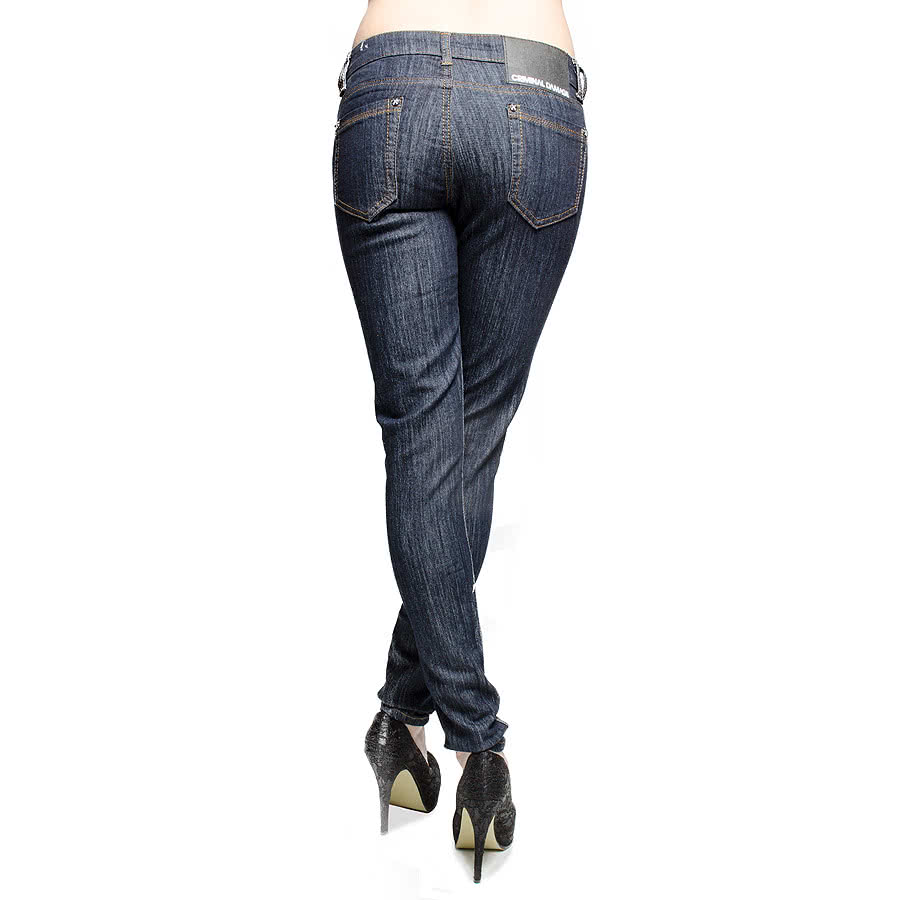 Criminal Damage Skinny Fit Stretch Jeans (Indigo)