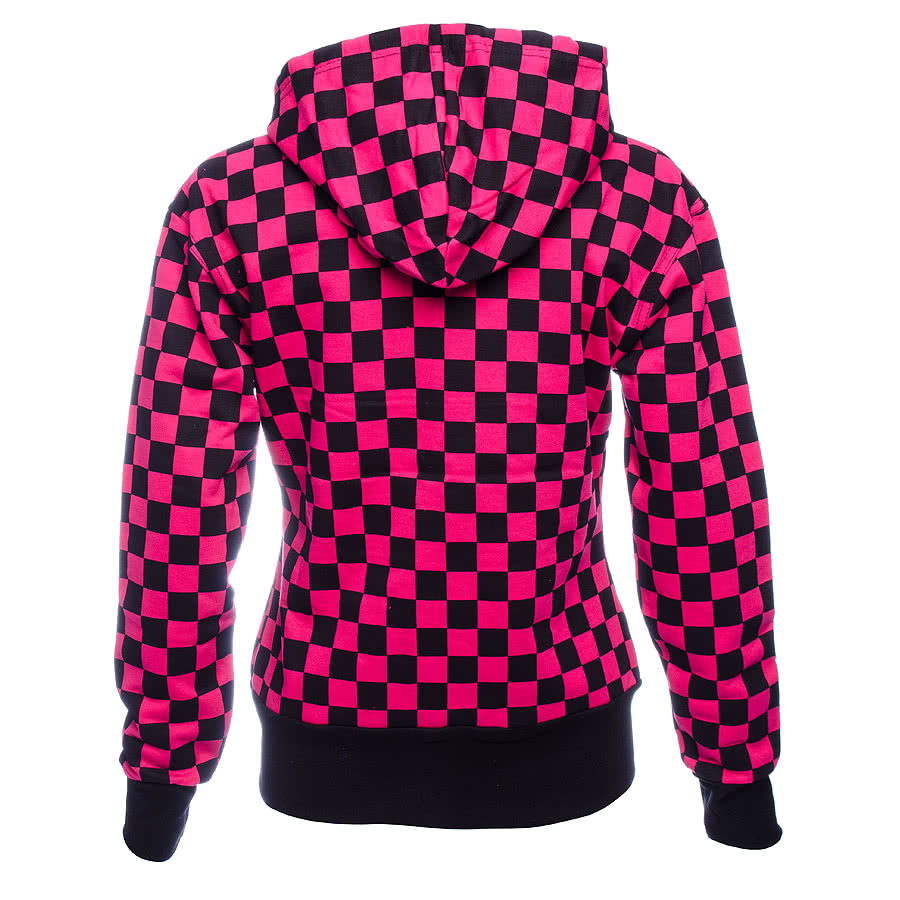 Essential Checker Print Hoodie (Black/Pink)