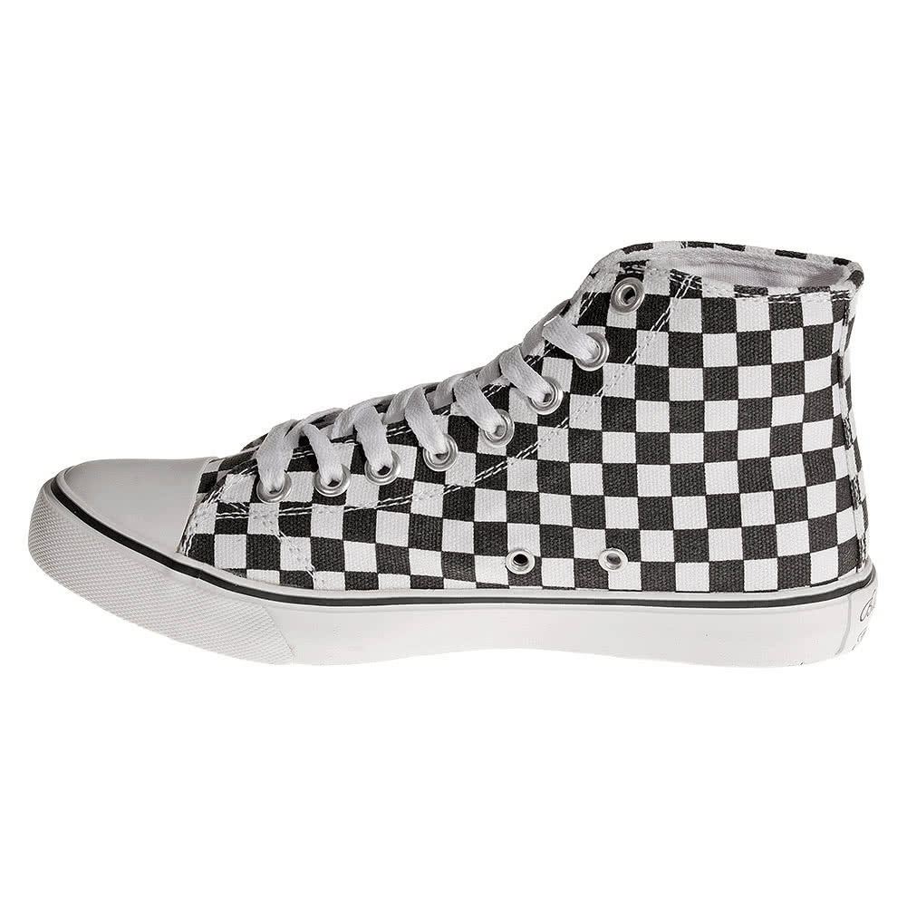 Bleeding Heart Checkerboard Hi Tops (Black/White)