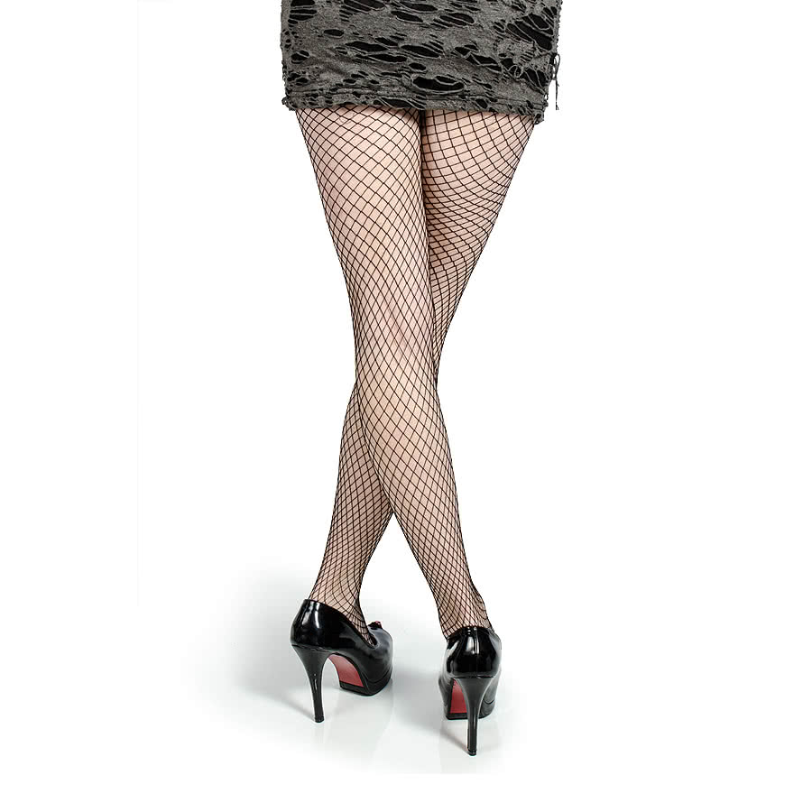 Large Fishnet Pattern Tights (Black)