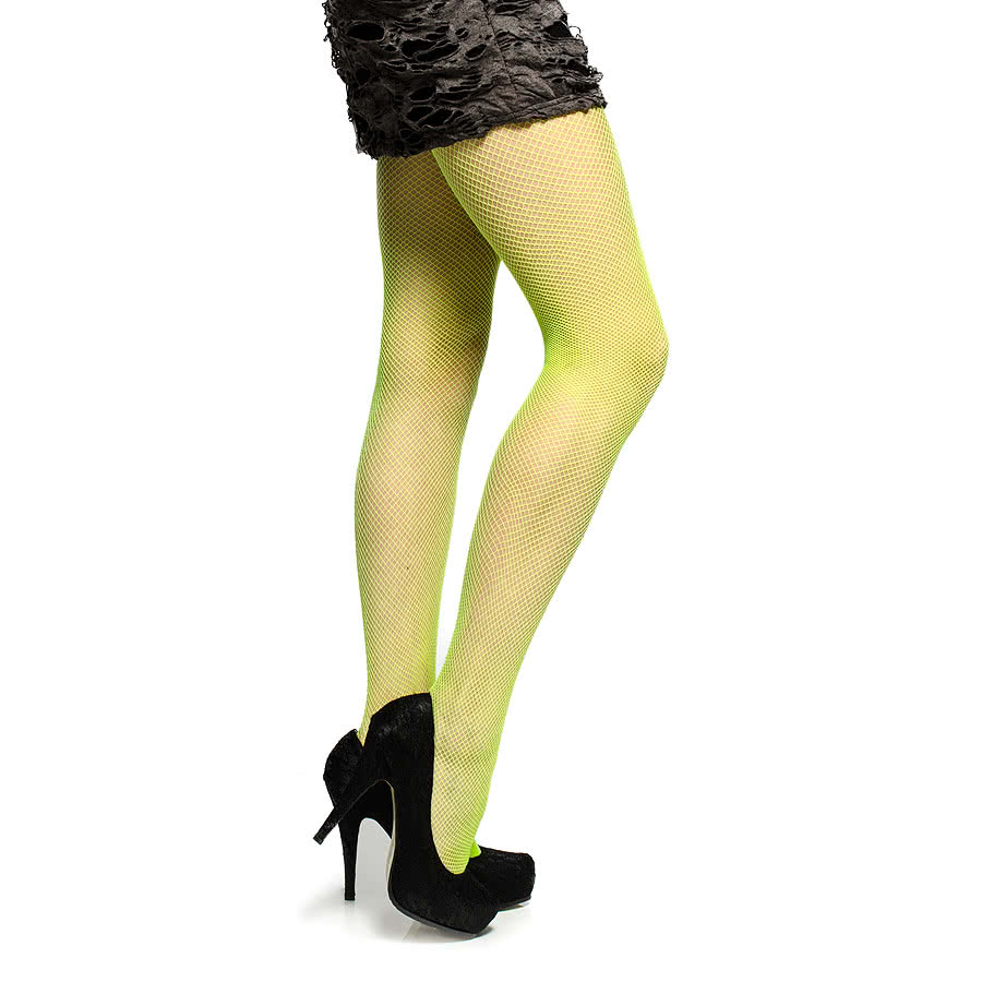 Blue Banana Neon Small Fishnet Pattern Tights (Green)