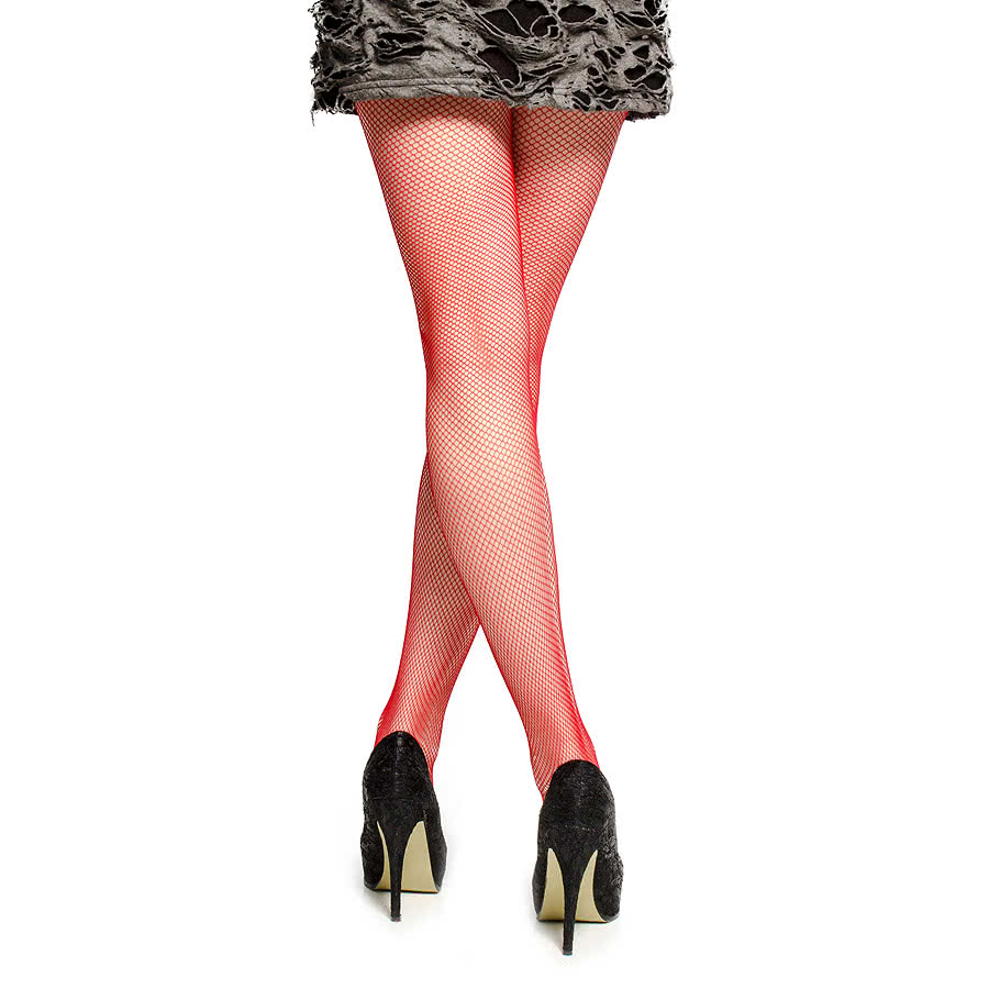 Blue Banana Small Fishnet Pattern Tights (Red)
