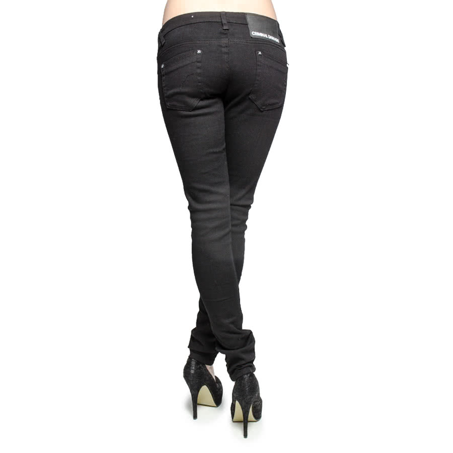 Criminal Damage Ripped Rose Lace Skinny Fit Jeans (Black/Black)