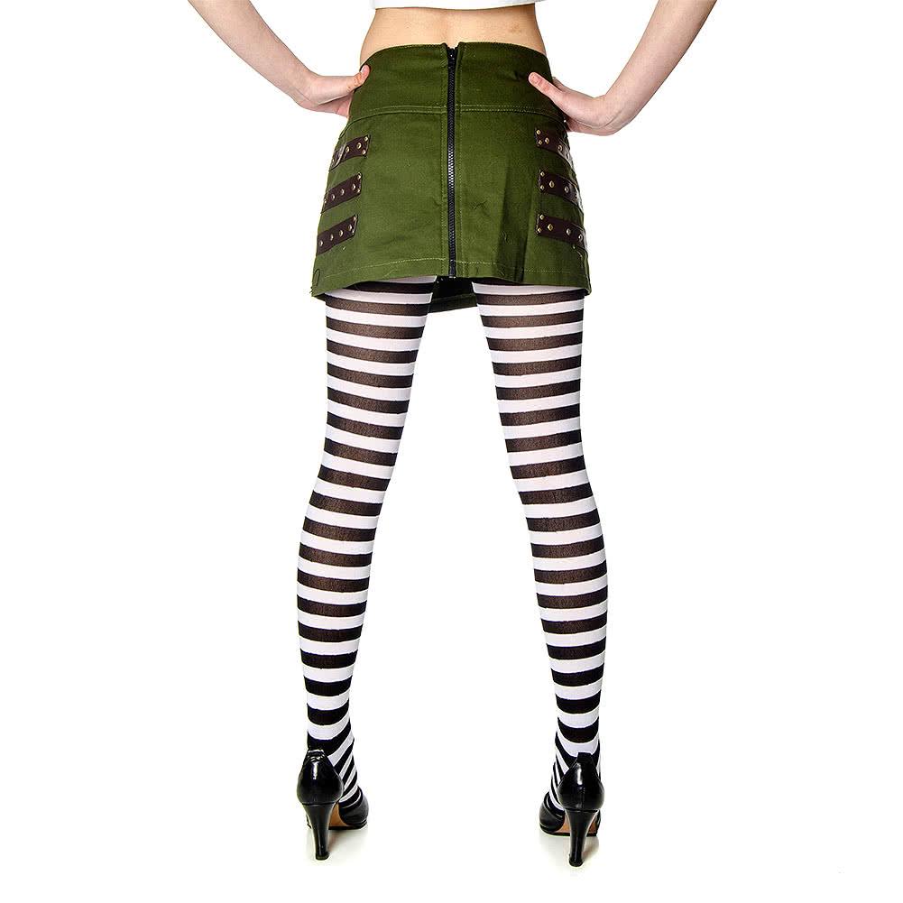 Blue Banana Striped Tights (Black/White)