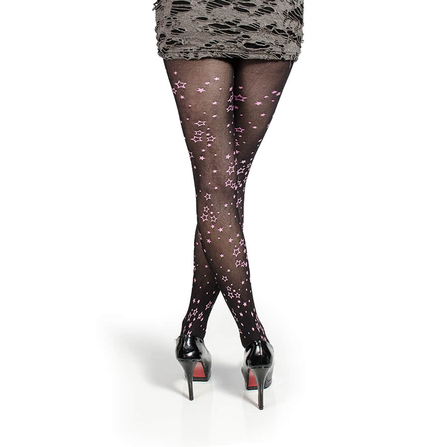 Blue Banana Glitter Star Print Tights (Black/Pink)