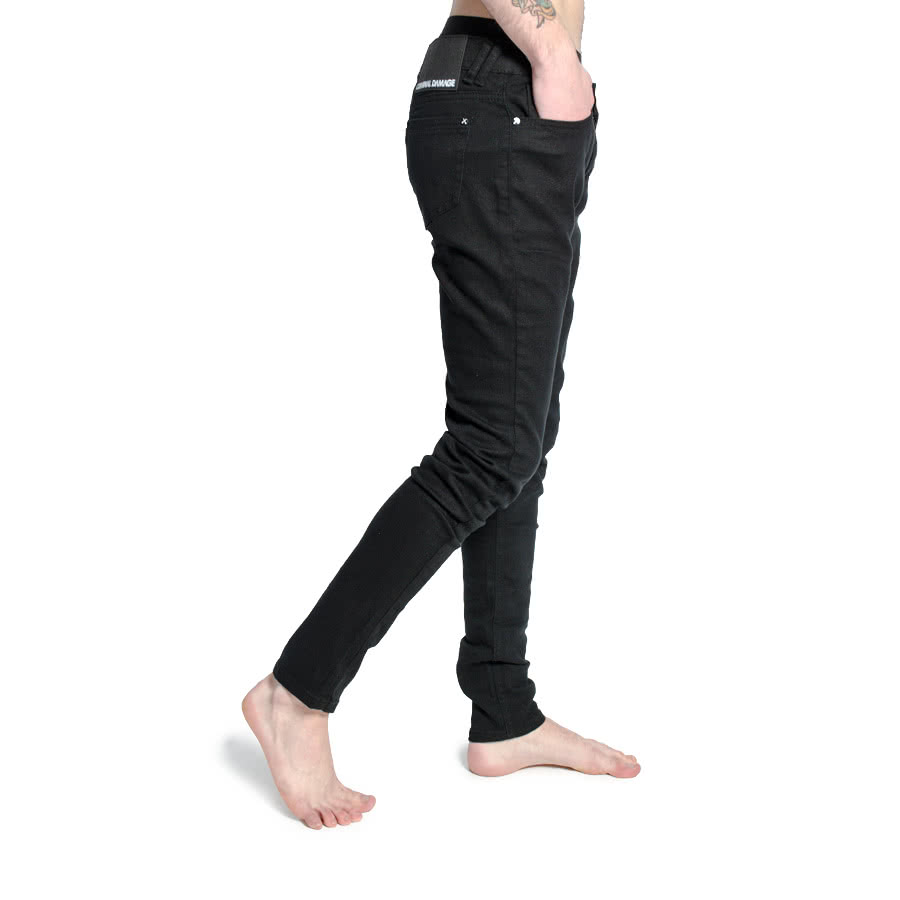 Criminal Damage Mens Skinny Fit Stretch Jeans (Black)