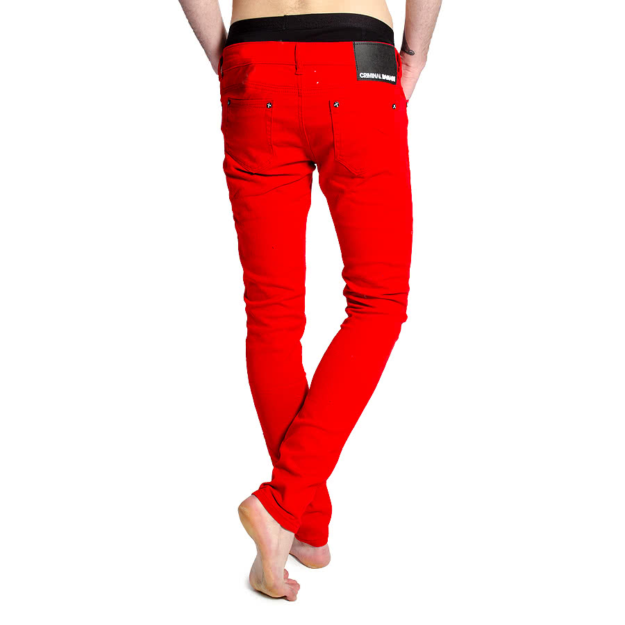 Criminal Damage Men's Skinny Fit Jeans (Red)