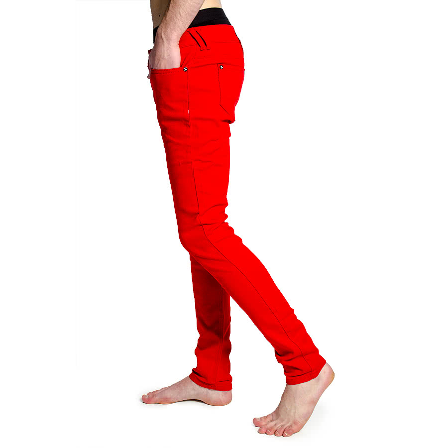 Criminal Damage Mens Skinny Fit Stretch Jeans (Red)