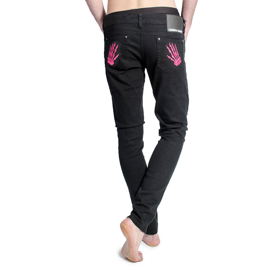 Criminal Damage Mens Pink Skeleton Hands Patterned Skinny Fit Jeans (Black)