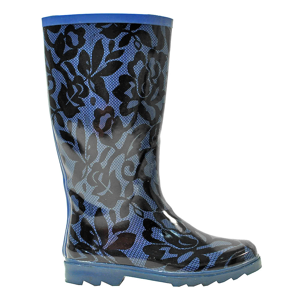Blue Banana Lace Print Wellies (Blue)