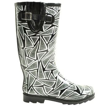 Blue Banana Triangle Print Wellies (Black)