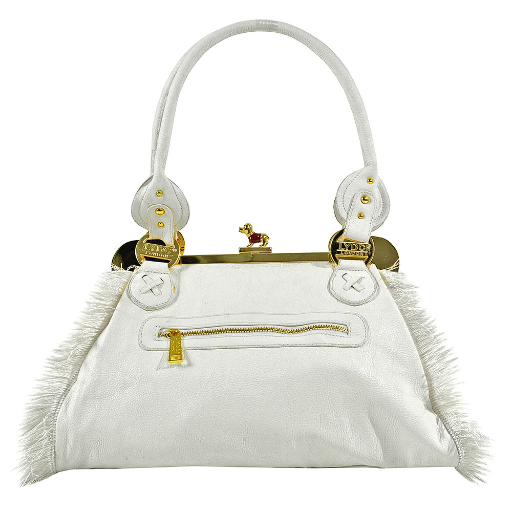LYDC London White Fringe Bag