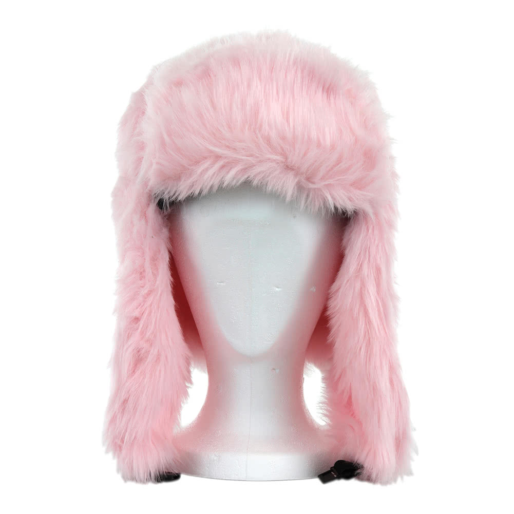 Blue Banana Fur Pom Pom Hat (Pink)