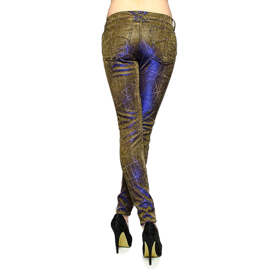 Tripp NYC Metallic Shine Jeans (Gold/Purple)