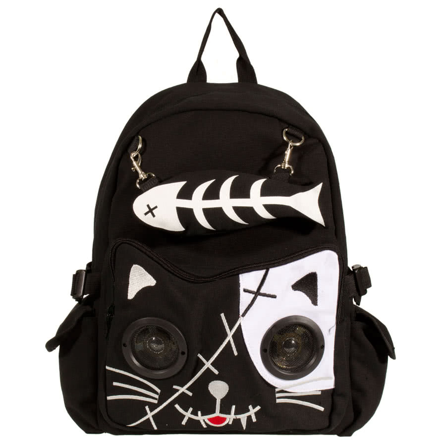 Banned Cat Fish Bone Backpack With Speakers (Black/White)