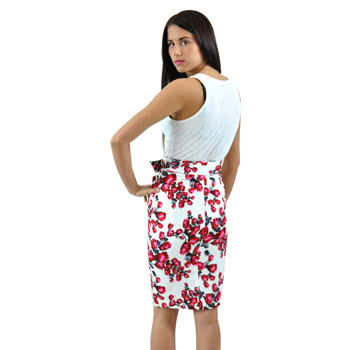 Voodoo Vixen Roses Pencil Skirt (White)