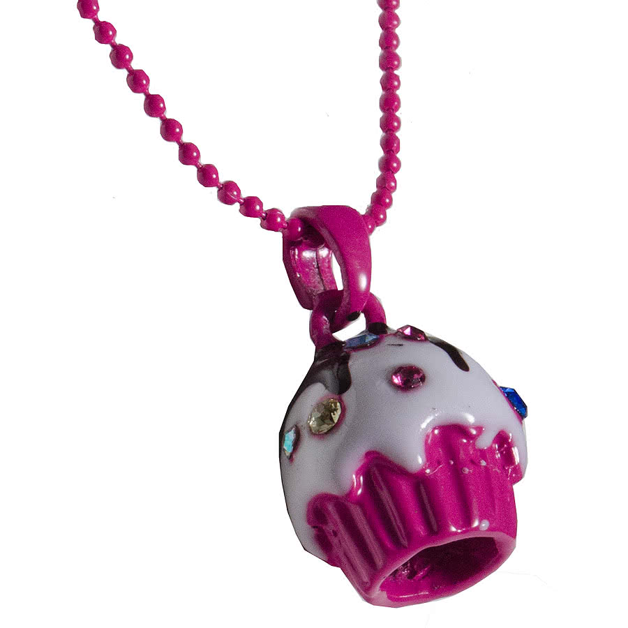 Blue Banana Gem Cupcake Necklace (Pink)