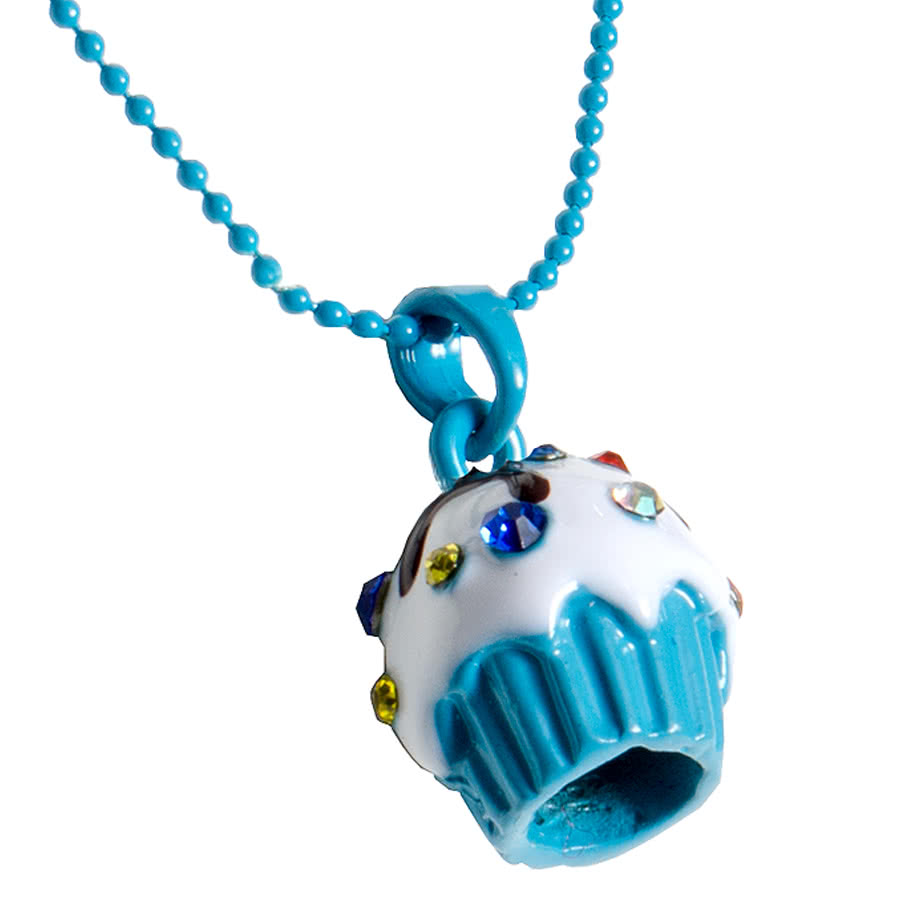 Blue Banana Cupcake Gem Necklace (Blue)
