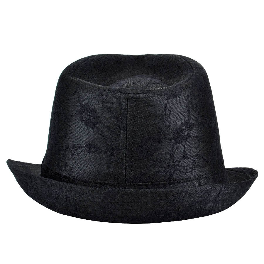 Blue Banana Floral Pattern Trilby Hat (Black)