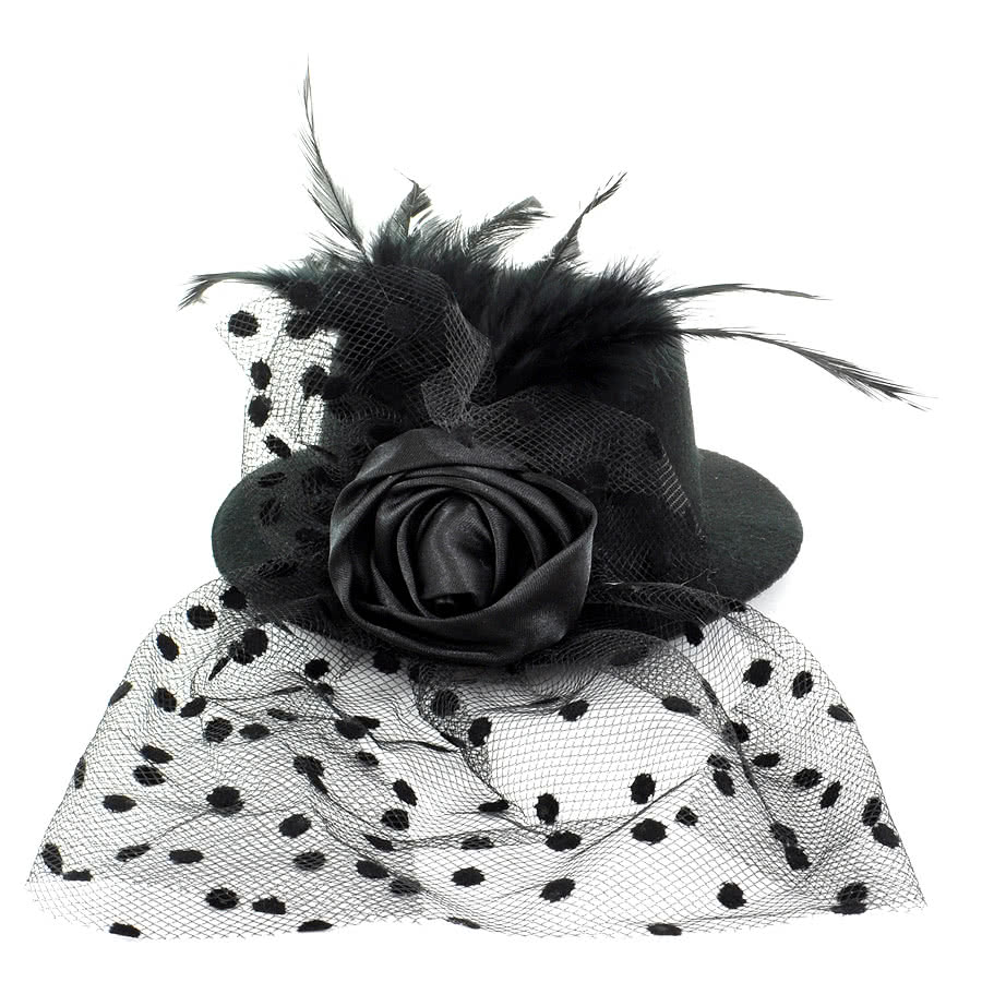 Blue Banana Rose & Veil Small Hat (Black)