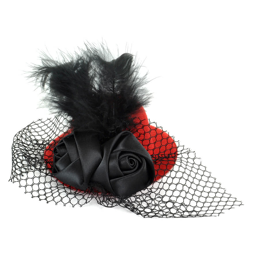 Blue Banana Rose Mini Hat Hair Clip (Red)