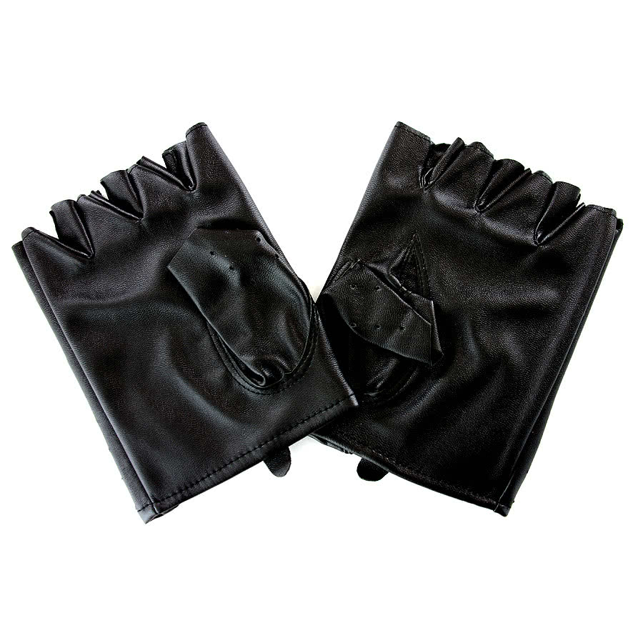 Blue Banana PU Leather Gloves (Black)