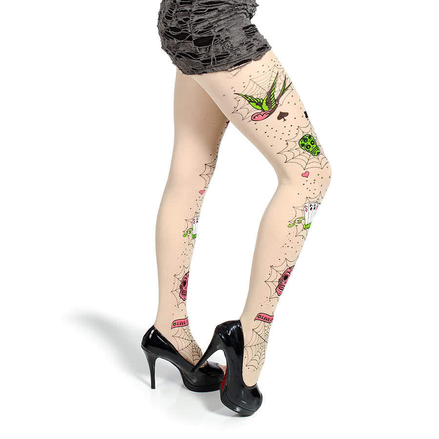 Blue Banana Sugar Skulls Tights (Cream)