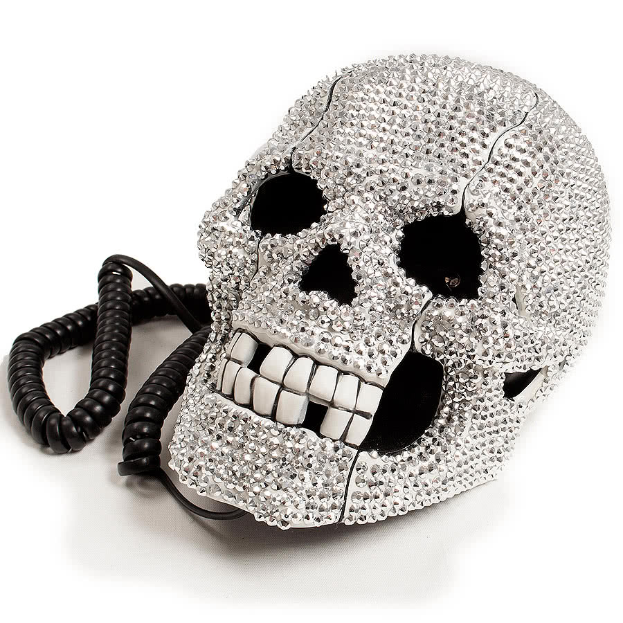 Blue Banana Crystal Skull Telephone (Silver)