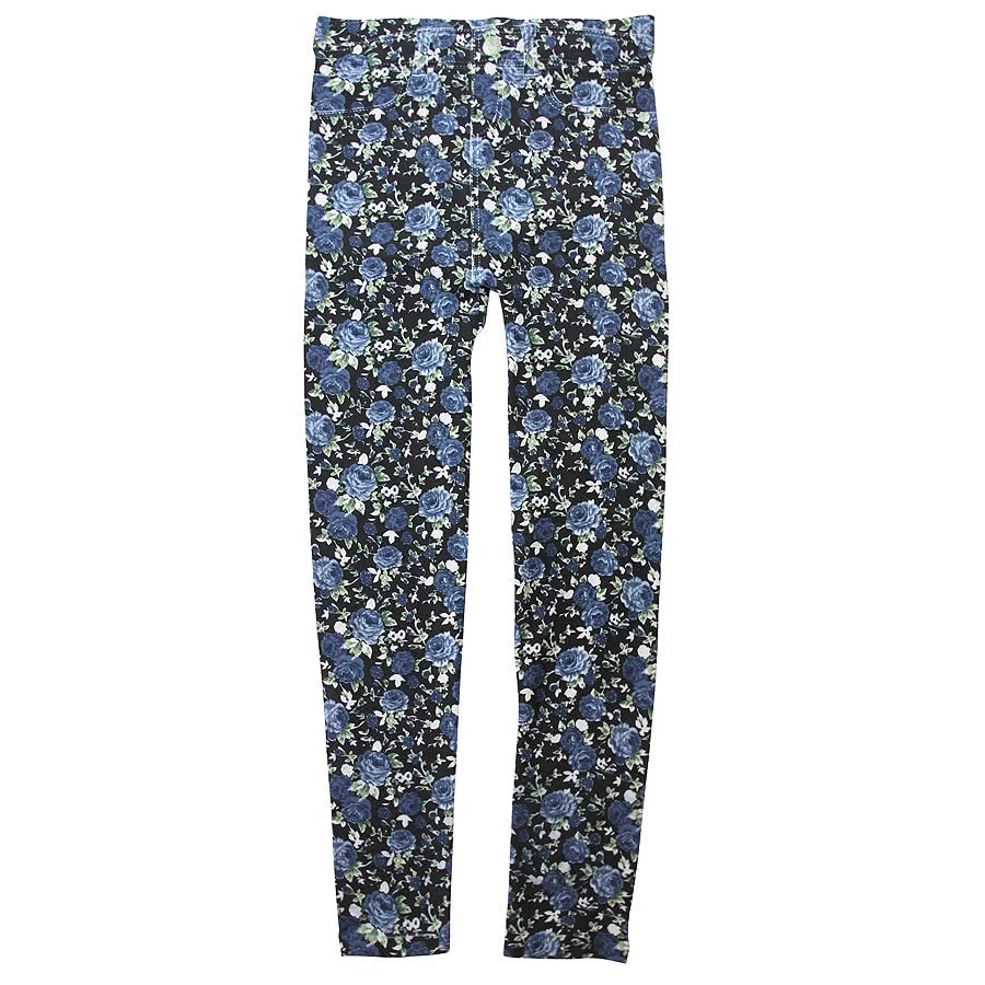 Blue Banana Flowers Leggings (Multi-Coloured)