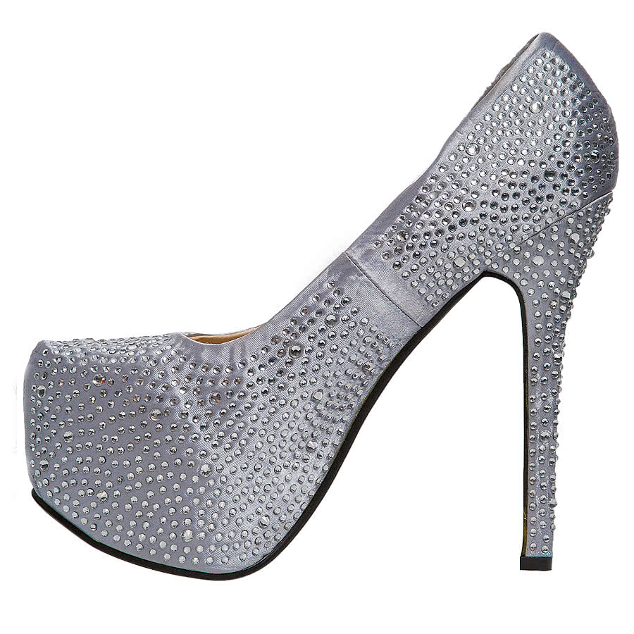 Blue Banana Crystal Platform High Heels (Silver)