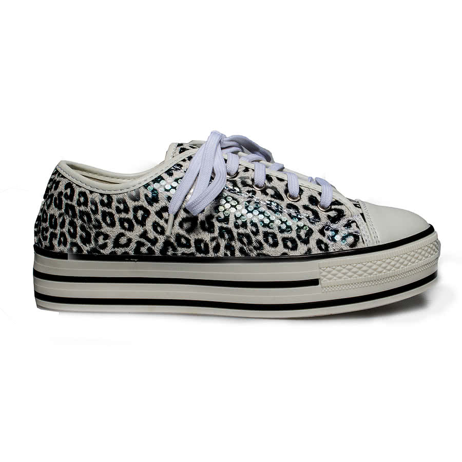Blue Banana Leopard Print Lace Up Shoes (White)