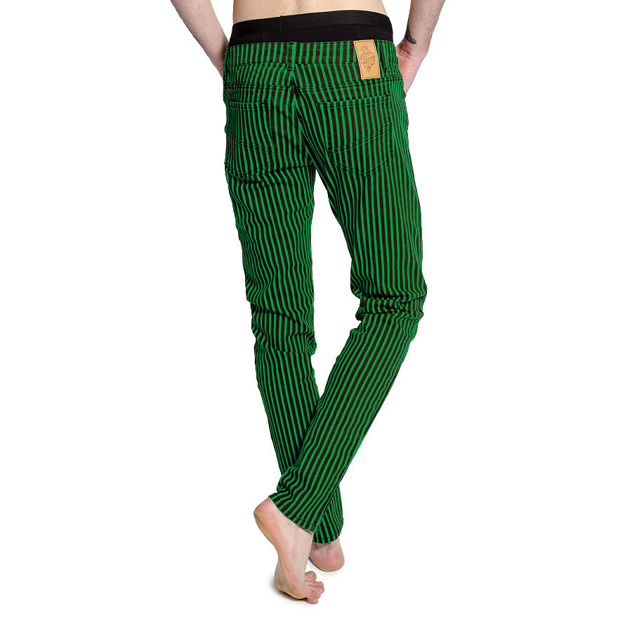 Bleeding Heart Mens Striped Skinny Fit Jeans (Black/Green)