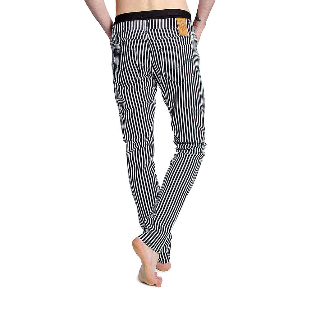 Bleeding Heart Men's Striped Skinny Fit Jeans (Black/White)