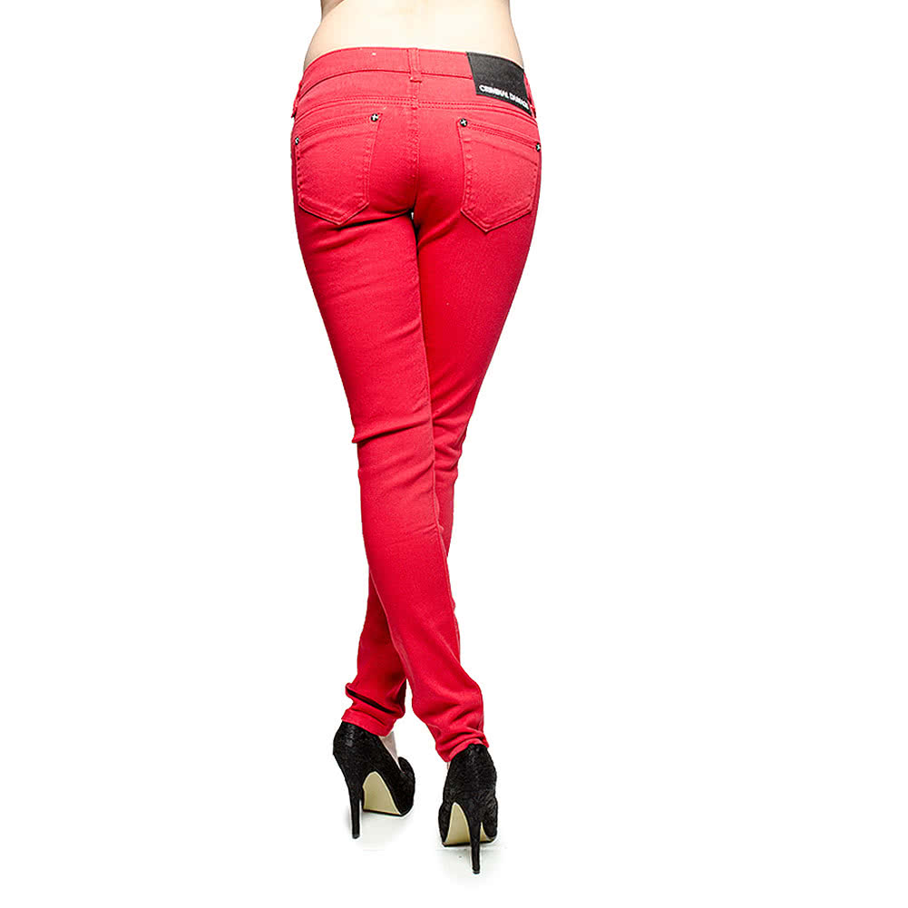 Criminal Damage Skinny Fit Jeans (Poppy Red)