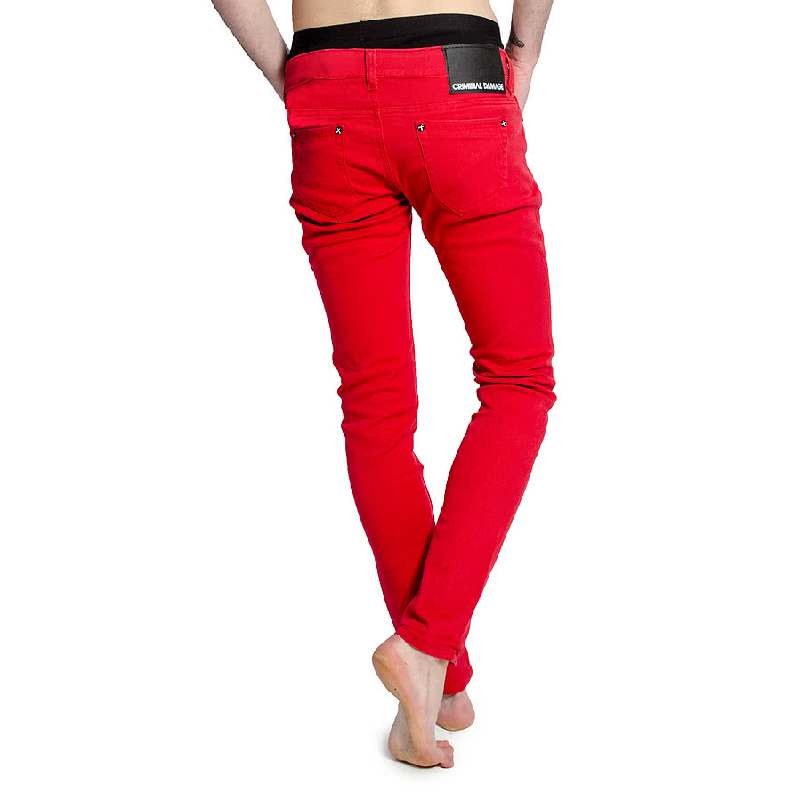 Criminal Damage Men's Skinny Fit Jeans (Poppy Red)