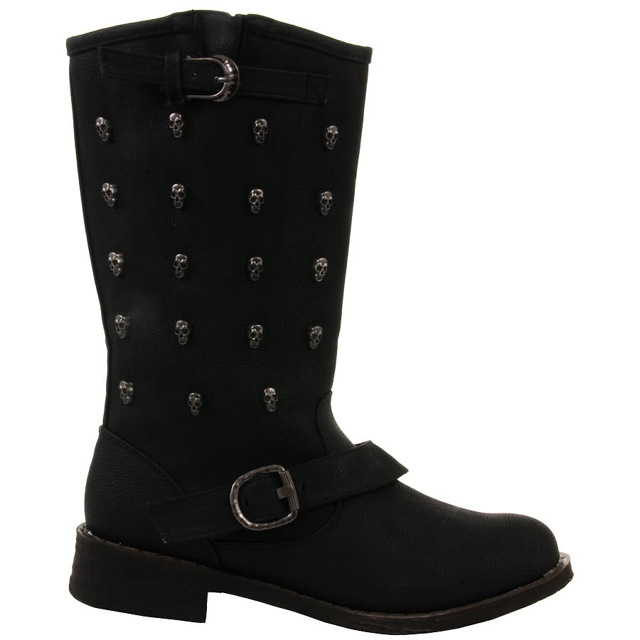 Spot On Studded Skulls Boots (Black)