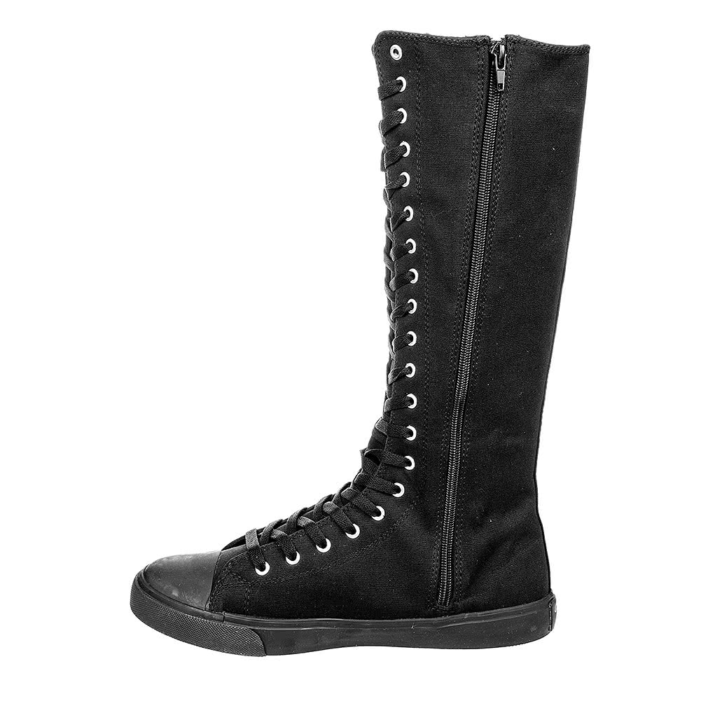 Blue Banana Extra Tall Lace Up Boots  (Black)