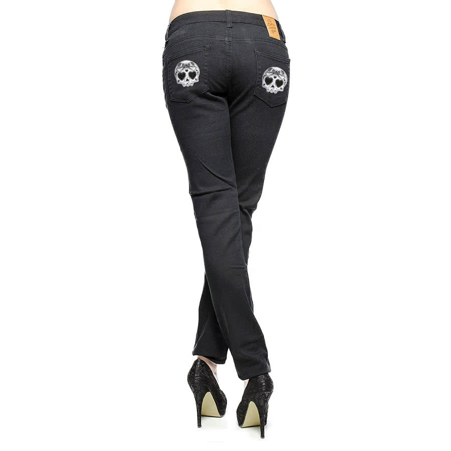 Bleeding Heart Sugar Skull Jeans (Black)