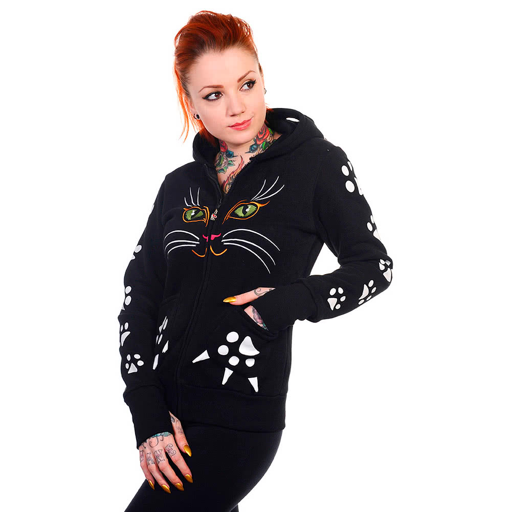 Banned Cat Skinny Fit Hoodie (Black)