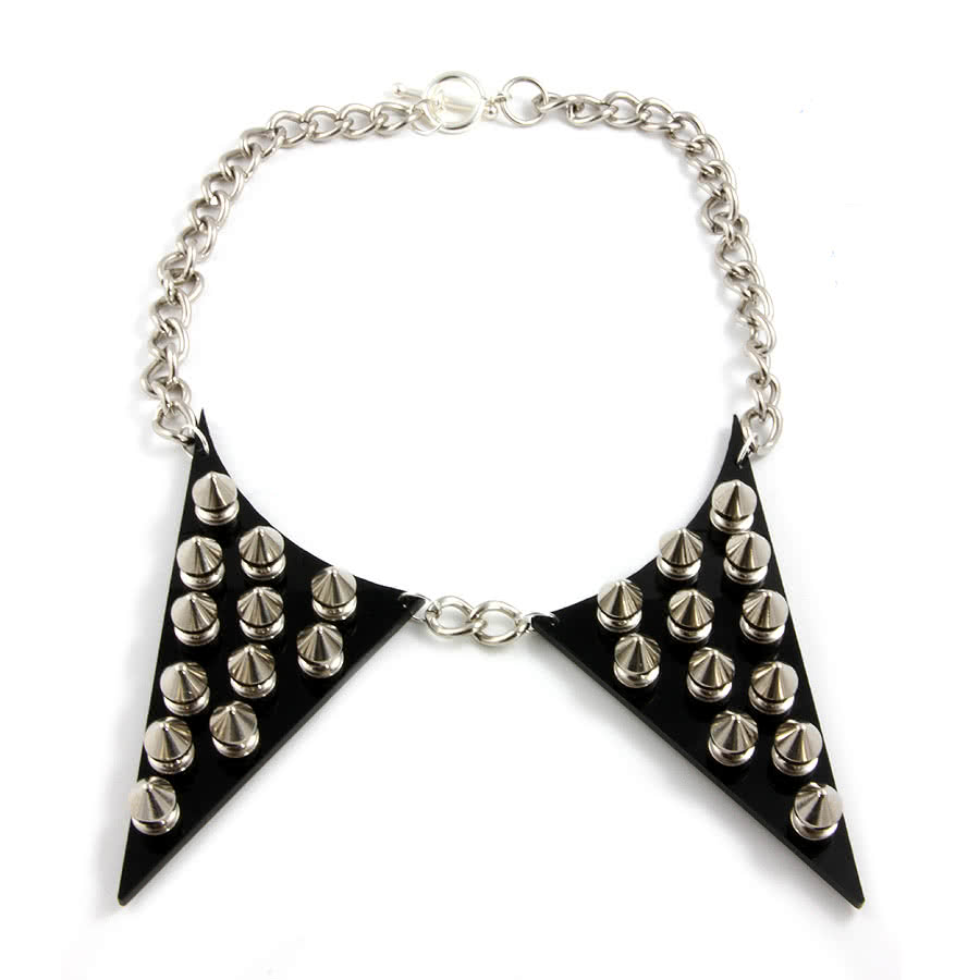 Extreme Largeness Studded Collar Necklace (Black)