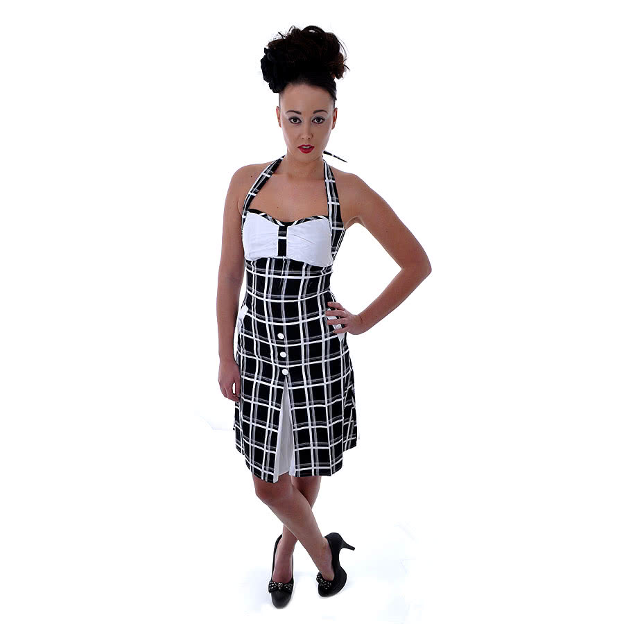 Voodoo Vixen Check Dress (Black)